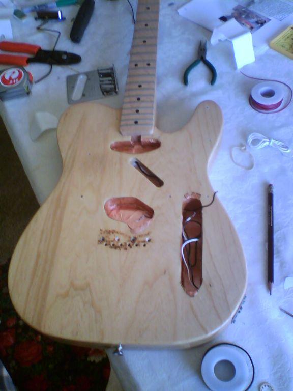 Disassembled Telecaster with Shielding Installed